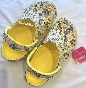 Vera Bradley Crocs SUNNY GARDEN Yellow Sunshine Floral Clog Shoes Women 7 NWT