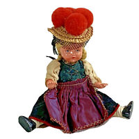 "Vintage original celluloid doll national costume black forest germany 6"" high"