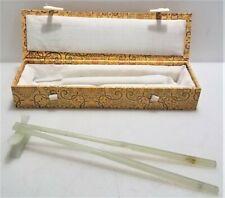 Natural Pale Green Stone Chopstick Set w/ Case