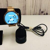 Motorola Moto 360 2nd Gen Rose Gold Metal Case With Leather Band