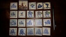 20 small Tiles, Holland-Hand Painted, Blue&White-Holland Scenes. 4 x 4 cm