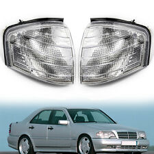 Pair Corner Lights Turn Signal Lamps For Mercedes Benz C Class W202 1994-00 New