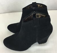 Diba London Fallon Booties Ankle Boots Black Suede Stacked Heel Size 7M