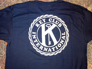 New Large L Kiwanis Key Club International Short Sleeve Logo T-shirt Navy Blue