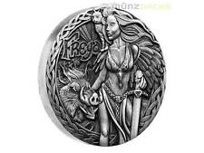 2 $ Dollar Norse Goddesses Freya High Relief Tuvalu 2 oz Silber Silver 2017