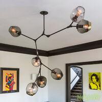 Adjustable Black Chandelier Light Glass Suspension Hanging LED Pendant Lamp