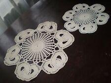 Set of  2 Vintage Handmade Cotton Crochet Ecru Tablecloths Unique Design