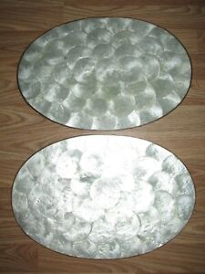 Vintage Set of 2 CAPIZ SHELL Brass Edge PLACEMATS Mother of Pearl Cork Back