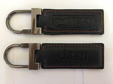 New Jeep Key Chain Ring Genuine Black Leather 75th Anniversary Wrangler USA