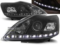 Coppia Fari Anteriori LED DRL Look Ford FOCUS 2 II C307 2008-2010 Daylight Neri