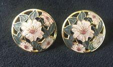 Vintage Enamel Cloisonne Flower Earrings signed Fish Cutwork Clip earrings VGC