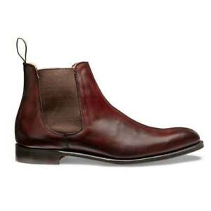 Handmade Mens Genuine Brown Leather Chelsea Ankle Formal Boots