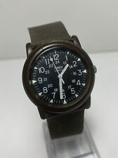 Vintage Men's Timex Camper Watch Military Style Field Black Face 12/24 Works