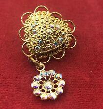 Vintage Brooch Pin Pin Back Aurora Borealis Rhinestone Gold Tone Heart