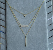 Gold plated Solid 925 Sterling Silver Multi layer 3 Pendants Zirconia Necklace