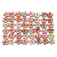 50pcs 2 Holes Wooden Flower Buttons Flat Back for Sewing Costume Button DIY QK