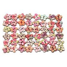 Flower Wooden 50pcs 2 Holes Buttons Flat Back for Sewing Costume Button CS