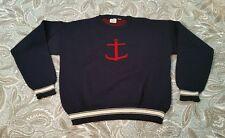 vintage jg J.G. Hook 100% Wool navy blue / red Anchor sweater 42 Large nautical