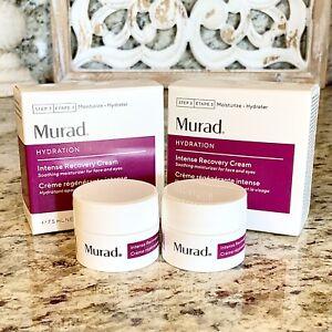 2x MURAD Hydration Intense Recovery Cream Moisturizer Minis .5oz/15ml TOTAL + 🎁