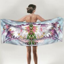 Pink Angel Wings Long Silk Scarf with feathers, tulips, and butterfly