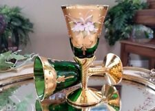 Italian Venetian Original Barbini Murano Handmade 24K Gold & Green Wine Glasses