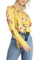 Women's Yellow Floral Wrap Ruffle Frill Long Sleeve Blouse Bodysuit