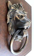 BIG VINTAGE ANTIQUE STYLE HAND MADE SOLID BRASS LION DOOR KNOCKER HANDLE~ 7 INCH