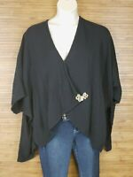 Soft Surroundings Black Kimono Sleeve Cardigan Womens One Size Fits Most