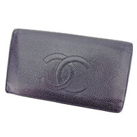Chanel Wallet Purse Long Wallet COCO Black Woman unisex Authentic Used T2739