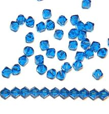 SCB319 Capri Blue 4mm Xilion Faceted Bicone Swarovski Crystal Beads 48pc