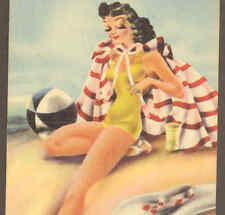 "GLAMOROUS BEACH GIRL,""COQUETTE"",HIGH HEEL SHOE POSTCARD"