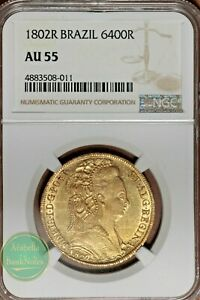 1802-R Brazil Gold 6400 Reis NGC AU 55