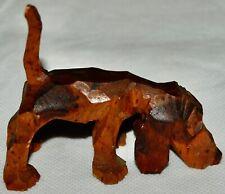 "Vintage Basset Hound Dog Small Wood Carved Figurine Figure Brown 3"""
