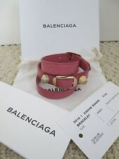 NWT Aut Balenciaga Giant Stud Rose Pink Gold Triple Wrap Leather Bracelet M $270