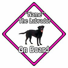Personalised Dog On Board Car Safety Sign - Labrador On Board Pink