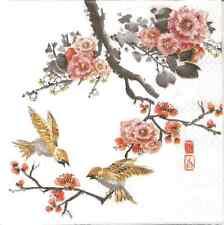 4 Tovaglioli di carta singolo per decoupage dipinto Asia Uccellino ramo fiori