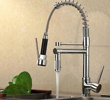 Brass Spring Kitchen Faucet Swivel Spout Vessel Sink Mixer Tap One Handle Hole