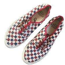 Vans Authentic CA Checkerboard Shoes True Blue & Red - Men's Sz 9.5 Women's 11