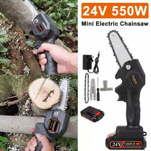 Cordless Electric Chain Saw Wood Cutter 550W Mini One-Hand Saw Woodworking