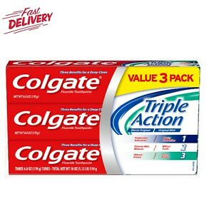 Colgate Triple Action Fluoride Toothpaste, Teeth Whitening and Cavity Protection