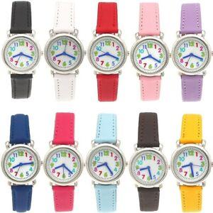 10pcs Job Lots Kids Boy Girl Children Watches Quartz Leather Wristwatch Gift H02