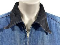 Vintage Wrangler Men Size 42 Western Blue Insulated Blanket Lined Denim Jacket
