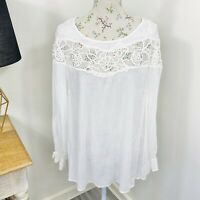 City Chic Womens Top White Long Fluted Sleeve Lace Size M 18 NWT