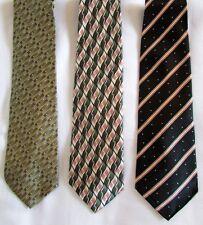 NUOVO 3 uomo cravatte rifinita a mano di seta verde beige nero 100% %