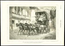 1875-antiguo de impresión de Bellas Artes en los Pirineos llegada diligencia bridgmann (101)