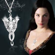 Arwen Evenstar Necklace Lord Rings LOTR Silver Crystal Pendant Fantasy Celtic