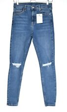 Skinny Topshop High Rise JAMIE Blue Stretch Ripped Jeans Size 12 W30 L32
