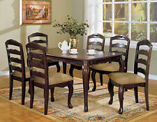 Townsville Dark Walnut Finish 7pc Dining Set Dining Table & 6 Side Chairs New