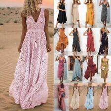 As Mulheres Floral Boho longo maxi vestido de festa coquetel vestido de Praia Verão De Férias L