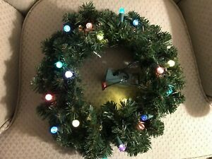 "BETHLEHEM LIGHTS MULTI-COLOR LIGHTS 14"" WREATH WITH SENSOR"